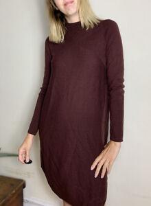 Beautiful Long Jigsaw Jumper Dress M Uk 10 12 100% Wool Ribbed Stretch Burgundy