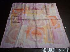 NWT: Ferragamo Logo Print Silk Scarf 26 X 26 in Shades of Pink