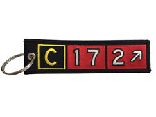 Cessna 172 Airport Taxiway Sign Embroidered Keychain. Aviation Airplane Gift.