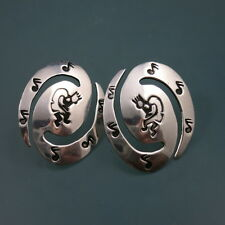 HENRY CALLADITO Indian Sterling Silver 925 KOKOPELLI Music Notes Plain Earrings