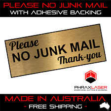 PLEASE NO JUNK MAIL THANKYOU - GOLD SIGN - LABEL - PLAQUE w/Adhesive 9CMx3.5CM