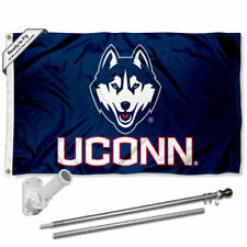 Connecticut Huskies Flag Pole and Bracket Gift Set Package