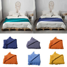 Knitted Throw Thread Sofa Bed Blanket Towel Tassel Blankets Solid Color