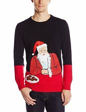 NEW Blizzard Bay Men's Suave Santa Ugly Christmas Sweater Black Red White Small