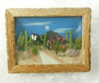 Vtg Landscape View Co 3D Diorama Wall Hanging Sahuaro Cactus Frame Desert