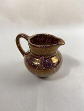 Vintage Old Castle England Miniature Lusterware Burgundy Pitcher/Creamer