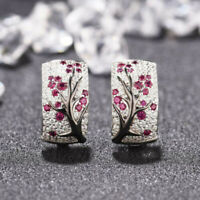 Luxury Red Ruby Flower Plum Blossom Earrings Women Stud Ear Hoop Vintage Jewelry