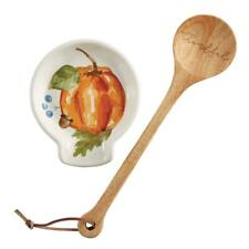 Mud Pie Fall Thanksgiving Watercolor Pumpkin Spoon Rest Kitchen Decor