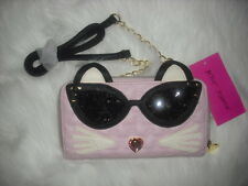 BETSEY JOHNSON WALLET ON A STRING PINK SEQUIN CAT SUNGLASSES CLUTCH POSH! NWT
