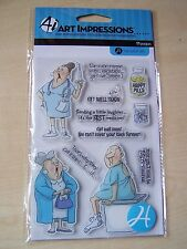 HAMPTON ART - ART IMPRESSIONS - CLEAR STAMPS - GET WELL SOON - 11 STAMPS