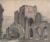 GEORGE GRAINGER SMITH Watercolour Painting LLANTHONY PRIORY WALES c1930