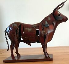 Magnificent Large Standing Bull hand made metal Sculpture Ornament 34cm long