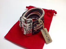 "NWT Uno de 50 Silvertone/Leather Bracelet /Closure $295 ""Warning"" 7"""