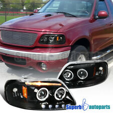 97-03 Ford F150 Expedition Shiny Black Dual LED Halo Projector Headlights Pair