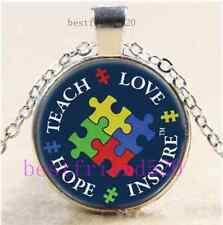 Autism Awareness Cabochon Glass Tibet Silver Chain Pendant Necklace