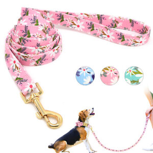 5ft Floral Dog Walking Leads Leash Durable Pet Nylon Rope for Small Large Dogs