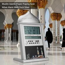 Azan Athan Alarme Horloge Murale Islamique Musulman Prière LCD Affichage Argent