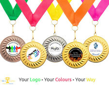 10 X Running Medals Personalised With Your Logo Ribbon