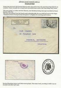 os1 SPAIN WWII 1940 cover to UK DETAINED IN FRANCE DURING GERMAN OCCUPATION