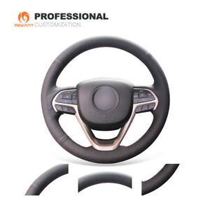 Black Genuine Leather Steering Wheel Cover for Jeep Cherokee Grand Cherokee