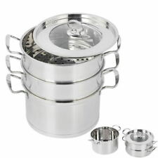3Tier Stainless Steel Food Steamer Set Induction Hob Cookware Steam Pot Pan Set