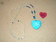 Beautiful Blue Marble Crystal Healing Heart Pendant Necklace #22 NEW