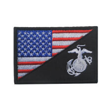 Embroidery America US Flag USMC Marine Corps Tactical Army Hook Loop Patch Badge