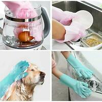 Magic Silicone Rubber Dish Washing Gloves Kitchen Cleaning Scrubber UK SELLER A1