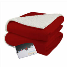 Biddeford Velour Sherpa Electric Heated Warming Blanket Full Claret Red