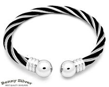 Stainless Steel 2Tone Silver Rope Style  Ball End Cuff Bangle Bracelet Wristband