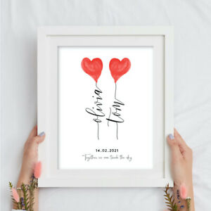 LOVE HEART NAME BALLOONS WALL ART TYPOGRAPHY. VALENTINE ENGAGEMENT WEDDING GIFT