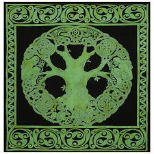 Mandala Green Celtic Wall Bedspread Indian Cotton Queen Tapestry Throw Blanket