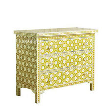 Handmade Bone Inlay Yellow Sideboard Buffets