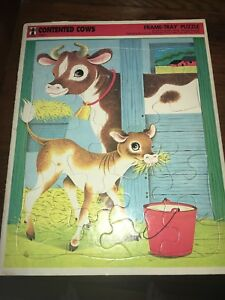Vintage Rainbow Works Frame tray puzzle. Contented Cows1968 11x13