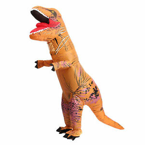 InflatableT-Rex Jumpsuit Adult Blow Up Funny Costume Jurassic (Brown)