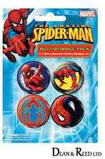 *NEW* Spider-man (Wall Crawler) PACK OF 4 BADGES BY PYRAMID (B019)