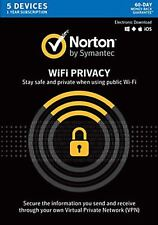 Norton Secure VPN (Norton WiFi Privacy) 2019 5 Devices 1 Year  Delivery by Email