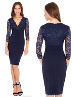 Goddess Navy Scalloped Cross Lace Bengaline Fitted Cocktail Party Evening Dress
