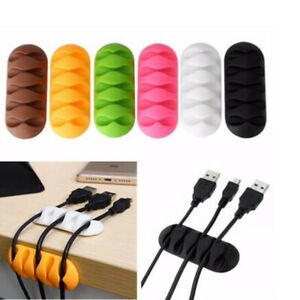 5PCS Cable Clip Desk Tidy Winder Organizer Wire USB Charger Holder Clip #W