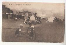 Anni 20 del 1900 RIMINI cartolina SPIAGGIA+GRAND HOTEL-Animata-Non viagg-j130