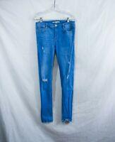 Zara Size 10 Trafaluc Denimwear layered Jeans Women's Distressed Light Blue Mom