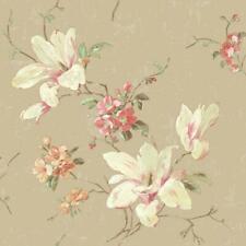 Wallpaper Magnolia Floral on Gold Sheen Background