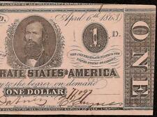 1863 $1 DOLLAR BILL CONFEDERATE STATES CURRENCY CIVIL WAR NOTE PAPER MONEY T-62
