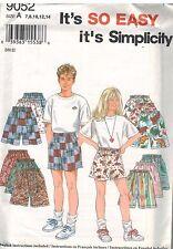 9052 Vintage Simplicity SEWING Pattern Girls Boys Shorts 7-14 UNCUT