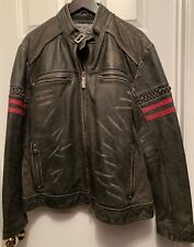 NEW Affliction Mens Born To Race Leather Jacket XLarge (XL) Black Wash