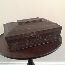 HUNTLEY & PALMERS 1920'S BISCUIT TIN SANDAL WOOD CASKET STYLE