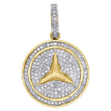 "10K Yellow Gold Genuine Diamond Mercedes Medallion Pendant 1.25"" Charm 0.50 Ct."