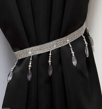 Crystal Beaded Curtain Tie Back Silver