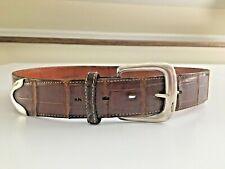 Vintage Ralph Lauren Women Alligator Belt,Sterling Silver Buckle&Tip.StampedRl8 5