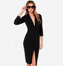 Beautiful New Ladies Black Size 8 Fitted Stretch V Neck Pencil Dress - Naomi